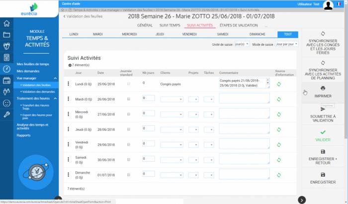 Interface du module de gestion des temps et des activités par Eurecia