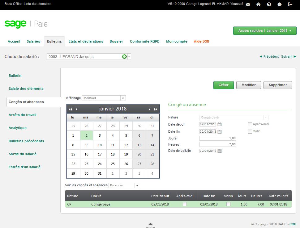 Interface du logiciel PME paie 'Sage Cloud Paie' pour la saisie des absences.