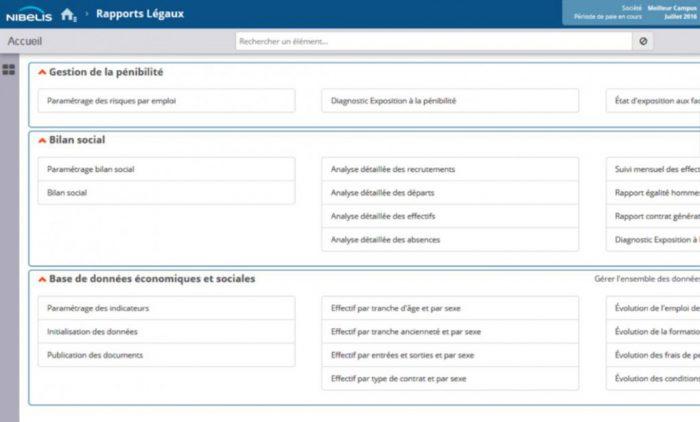 Interface du logiciel de paie PME Nibelis.